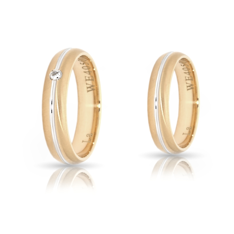 Two-Color Gold Wedding Ring Yellow and White Mod. Giulia mm. 5