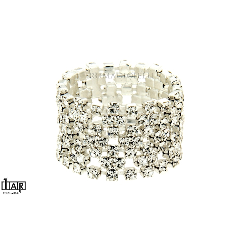 Anello white crystal in ottone bianco - Coll. Wedding Luxury