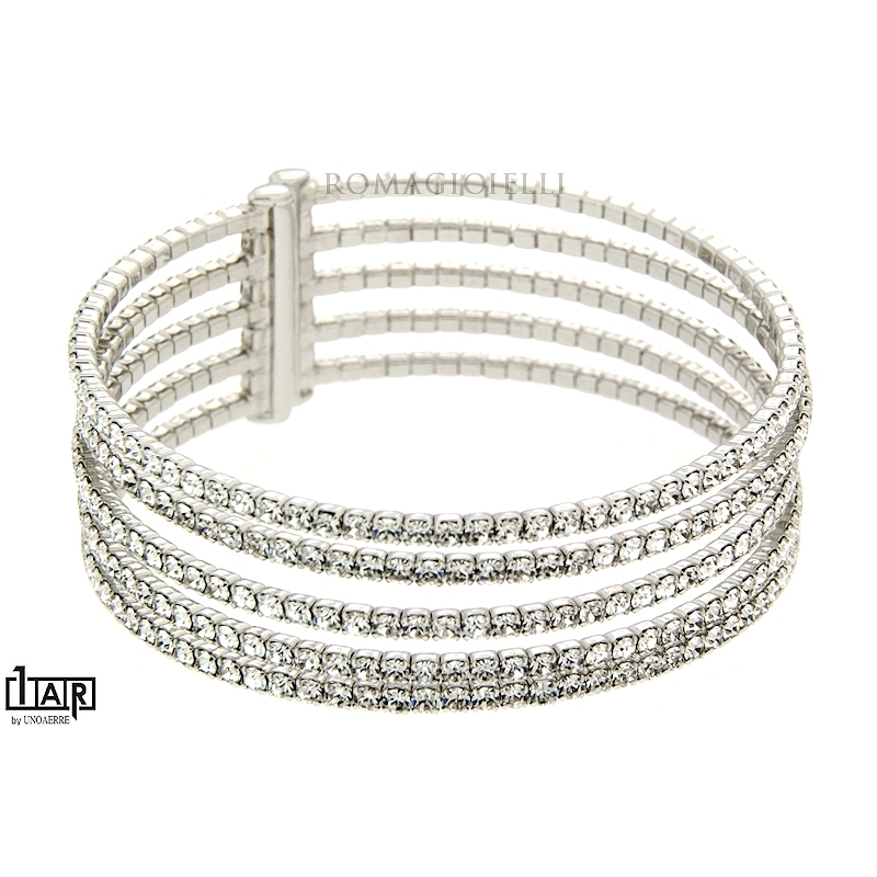 Bracciale tennis rigido 5 fili in ottone bianco - Coll. Wedding Luxury