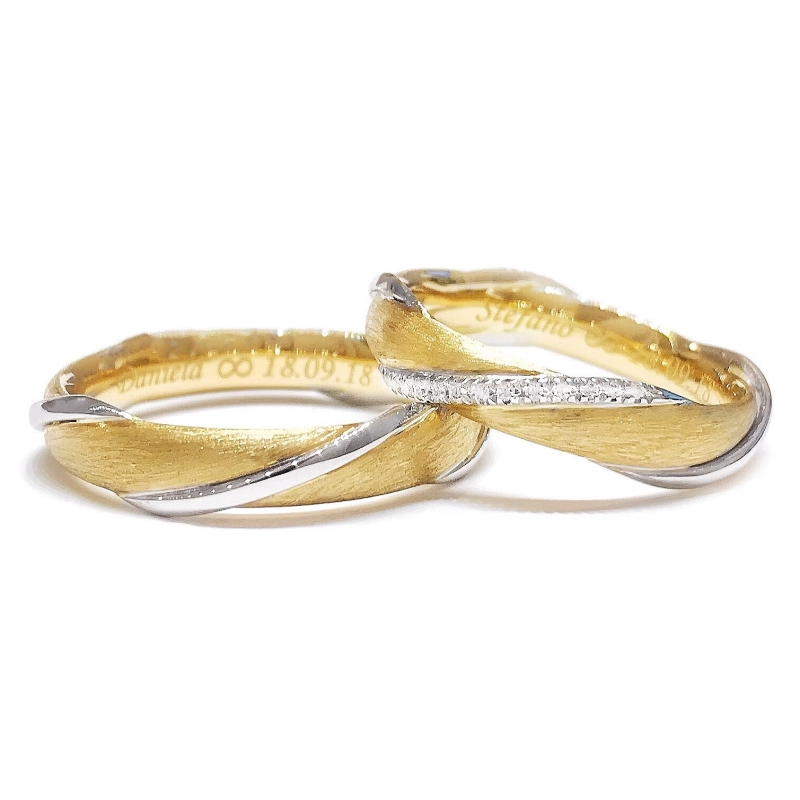 Two-Color Gold Wedding Ring Satin Yellow and White Mod. Portofino mm. 4,20