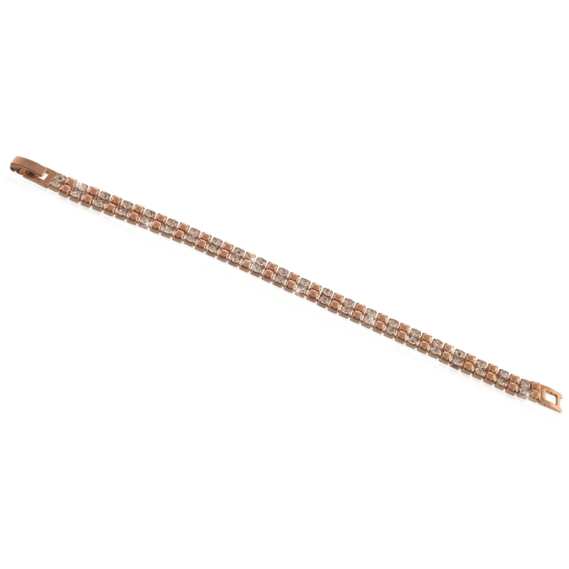 UNOAERRE - Bracciale in ottone rosa tennis 2 fili alternato Cm. 17