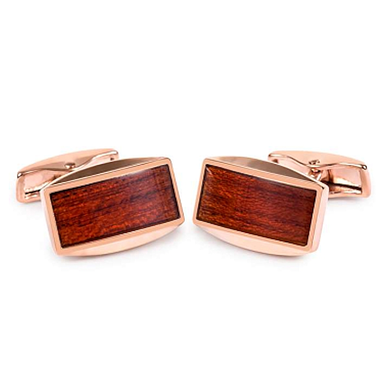CUFFLINKS WITH RECTANGULAR SHAPE AND WOOD DETAILS
