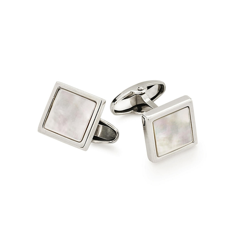 UNOAERRE - 925 Silver Squares Cufflinks with Mother of Pearl