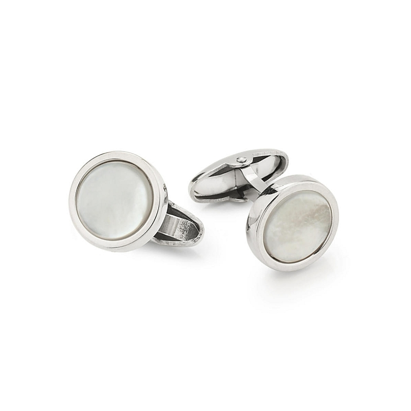UNOAERRE - 925 Silver Round Cufflinks with Mother of Pearl