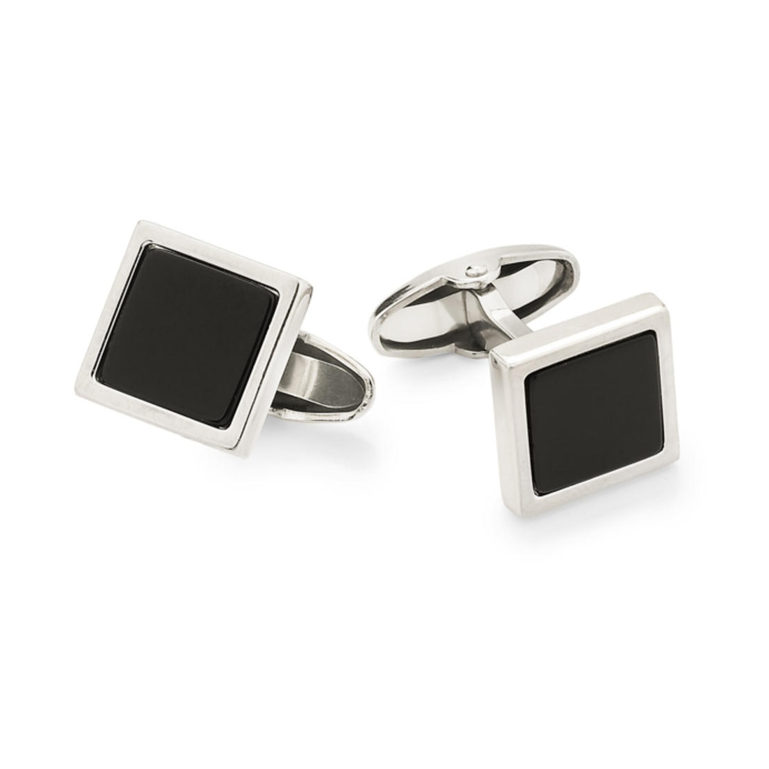 UNOAERRE - 925 Silver Square Cufflinks with Black Onyx