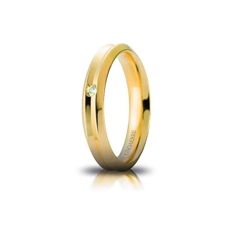 UNOAERRE Wedding Ring in 18k Yellow Gold mod. Corona with Diamond