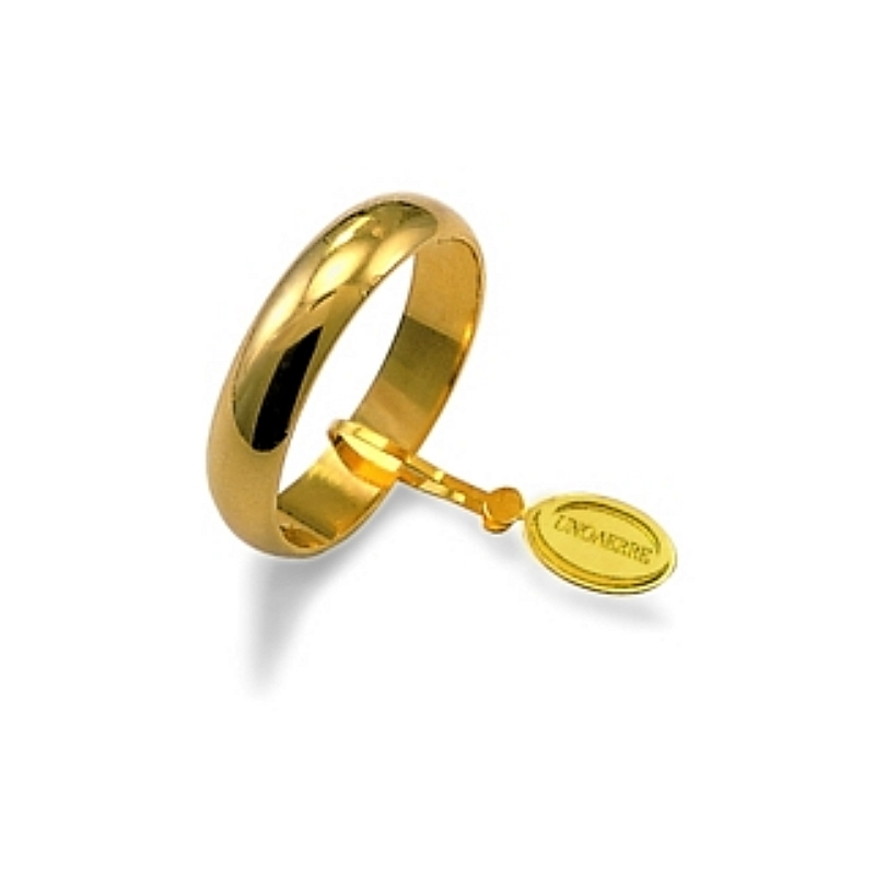 UNOAERRE Wedding Ring in 18k Yellow Gold mod. Larga Gr. 4